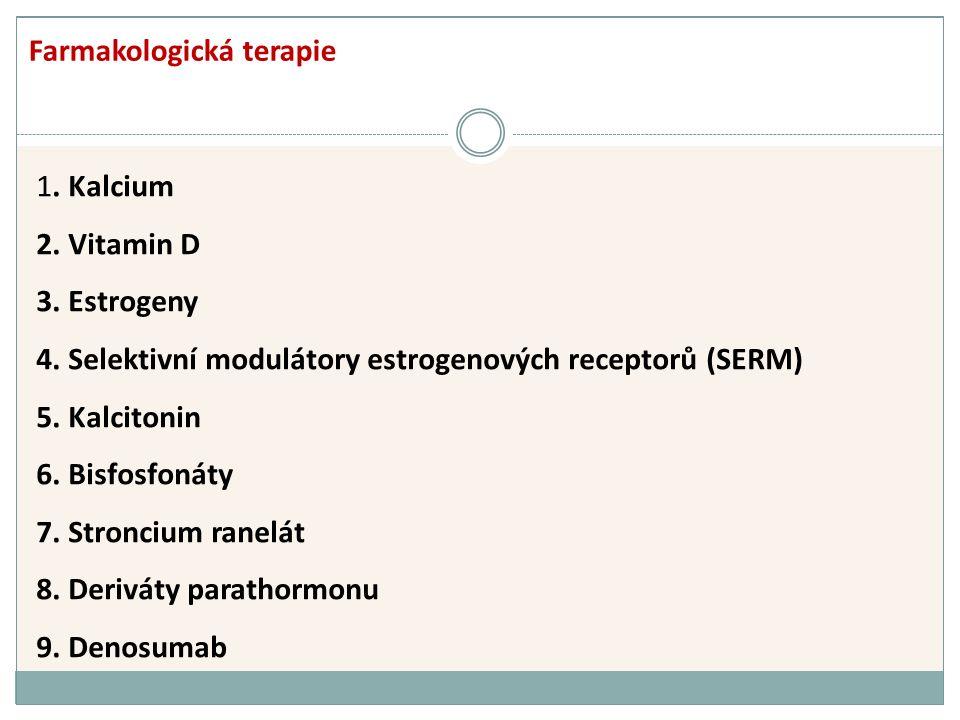 1. Kalcium 2. Vitamin D 3. Estrogeny 4. Selektivní modulátory estrogenových receptorů (SERM) 5.