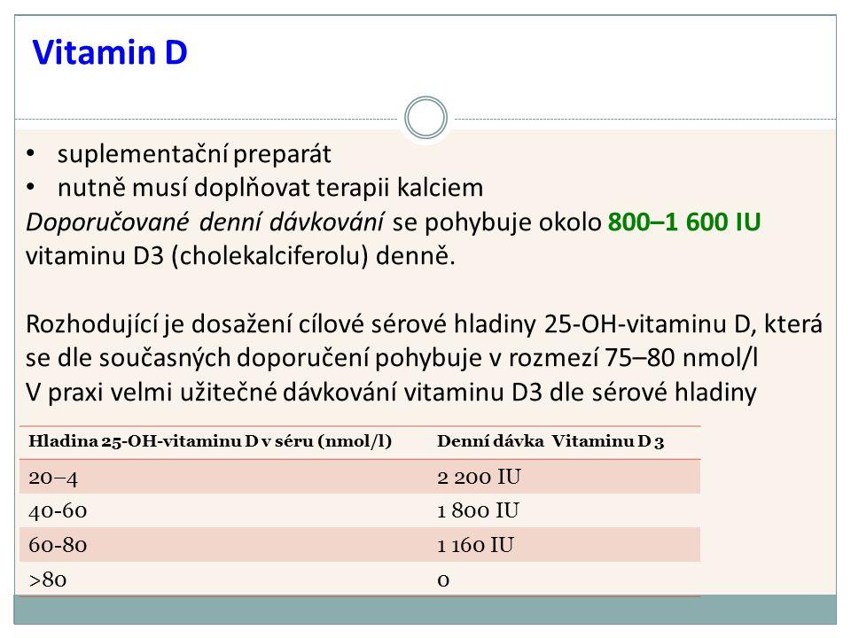 suplementační preparát nutně musí doplňovat terapii kalciem Doporučované denní dávkování se pohybuje okolo 800–1 600 IU vitaminu D3 (cholekalciferolu) denně.
