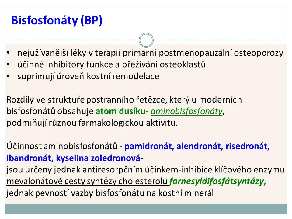 nejužívanější léky v terapii primární postmenopauzální osteoporózy účinné inhibitory funkce a přežívání osteoklastů suprimují úroveň kostní remodelace Rozdíly ve struktuře postranního řetězce, který u moderních bisfosfonátů obsahuje atom dusíku- aminobisfosfonáty, podmiňují různou farmakologickou aktivitu.