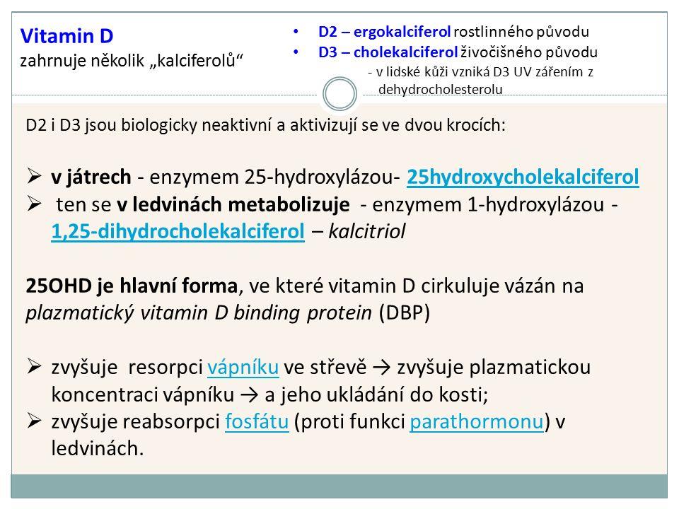 """Vitamin D zahrnuje několik """"kalciferolů D2 i D3 jsou biologicky neaktivní a aktivizují se ve dvou krocích:  v játrech - enzymem 25-hydroxylázou- 25hydroxycholekalciferol25hydroxycholekalciferol  ten se v ledvinách metabolizuje - enzymem 1-hydroxylázou - 1,25-dihydrocholekalciferol – kalcitriol 1,25-dihydrocholekalciferol 25OHD je hlavní forma, ve které vitamin D cirkuluje vázán na plazmatický vitamin D binding protein (DBP)  zvyšuje resorpci vápníku ve střevě → zvyšuje plazmatickou koncentraci vápníku → a jeho ukládání do kosti;vápníku  zvyšuje reabsorpci fosfátu (proti funkci parathormonu) v ledvinách.fosfátuparathormonu D2 – ergokalciferol rostlinného původu D3 – cholekalciferol živočišného původu - v lidské kůži vzniká D3 UV zářením z dehydrocholesterolu"""