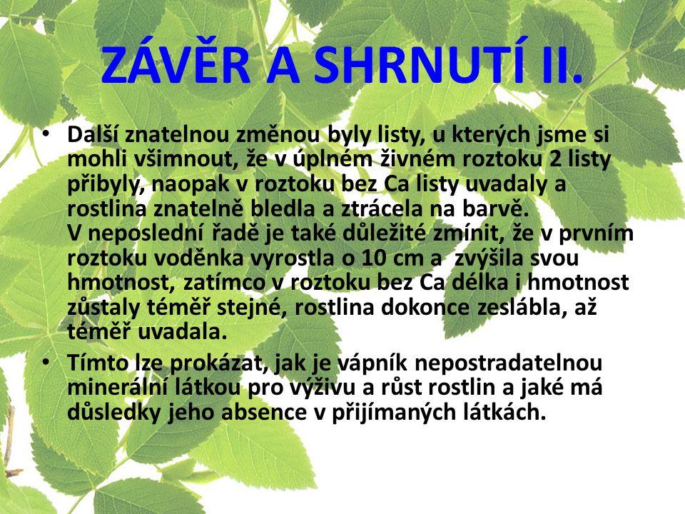 ZÁVĚR A SHRNUTÍ II.