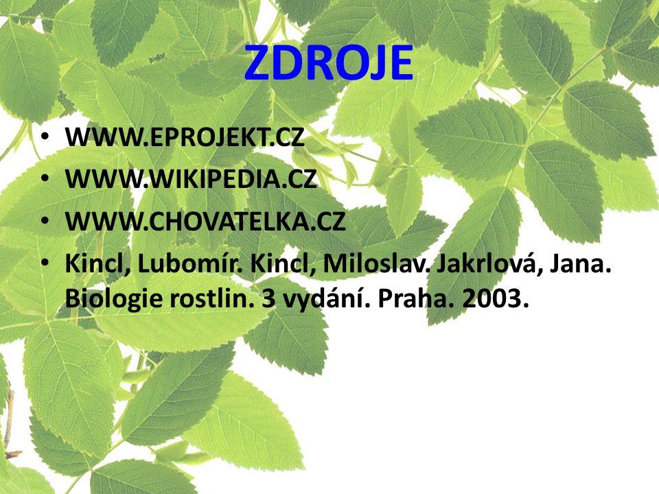 ZDROJE WWW.EPROJEKT.CZ WWW.WIKIPEDIA.CZ WWW.CHOVATELKA.CZ Kincl, Lubomír.