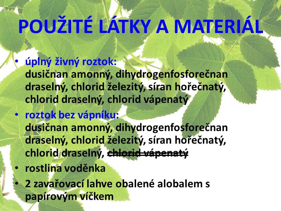 POUŽITÉ LÁTKY A MATERIÁL úplný živný roztok: dusičnan amonný, dihydrogenfosforečnan draselný, chlorid železitý, síran hořečnatý, chlorid draselný, chlorid vápenatý roztok bez vápníku: dusičnan amonný, dihydrogenfosforečnan draselný, chlorid železitý, síran hořečnatý, chlorid draselný, chlorid vápenatý rostlina voděnka 2 zavařovací lahve obalené alobalem s papírovým víčkem