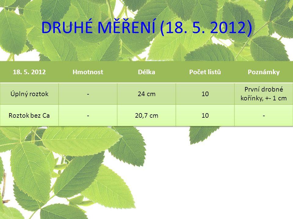 DRUHÉ MĚŘENÍ (18. 5. 2012 )