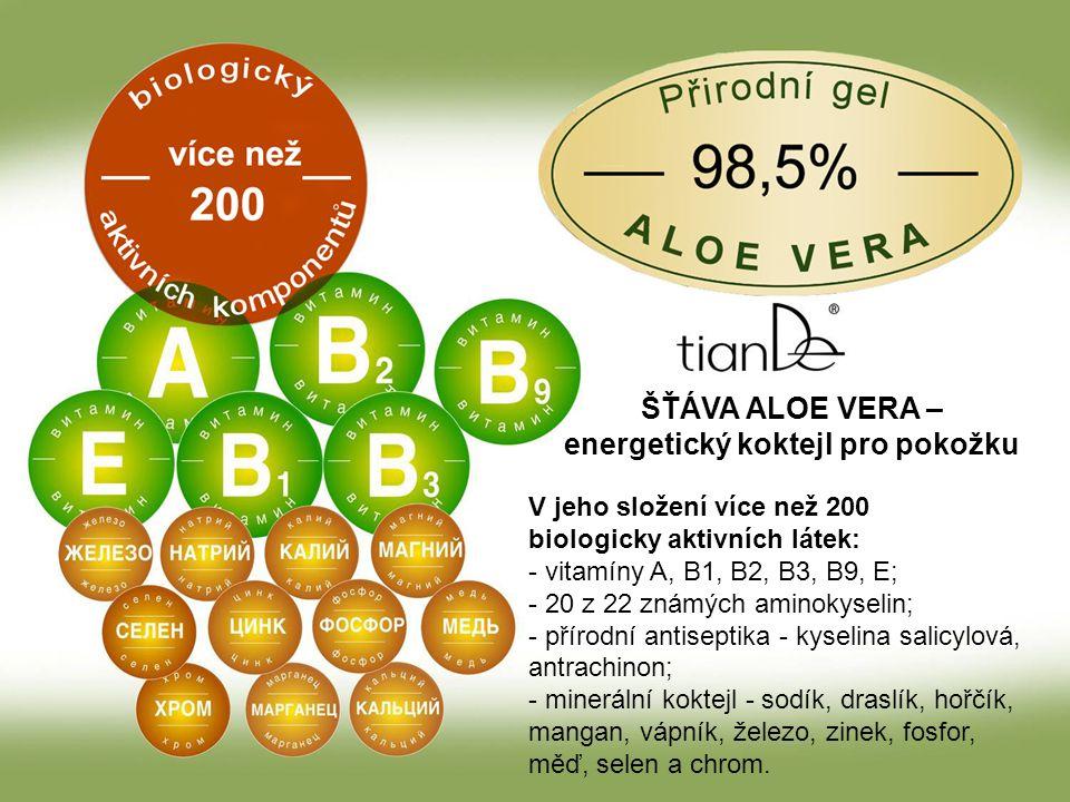ŠŤÁVA ALOE VERA – energetický koktejl pro pokožku V jeho složení více než 200 biologicky aktivních látek: - vitamíny A, B1, B2, B3, B9, E; - 20 z 22 známých aminokyselin; - přírodní antiseptika - kyselina salicylová, antrachinon; - minerální koktejl - sodík, draslík, hořčík, mangan, vápník, železo, zinek, fosfor, měď, selen a chrom.