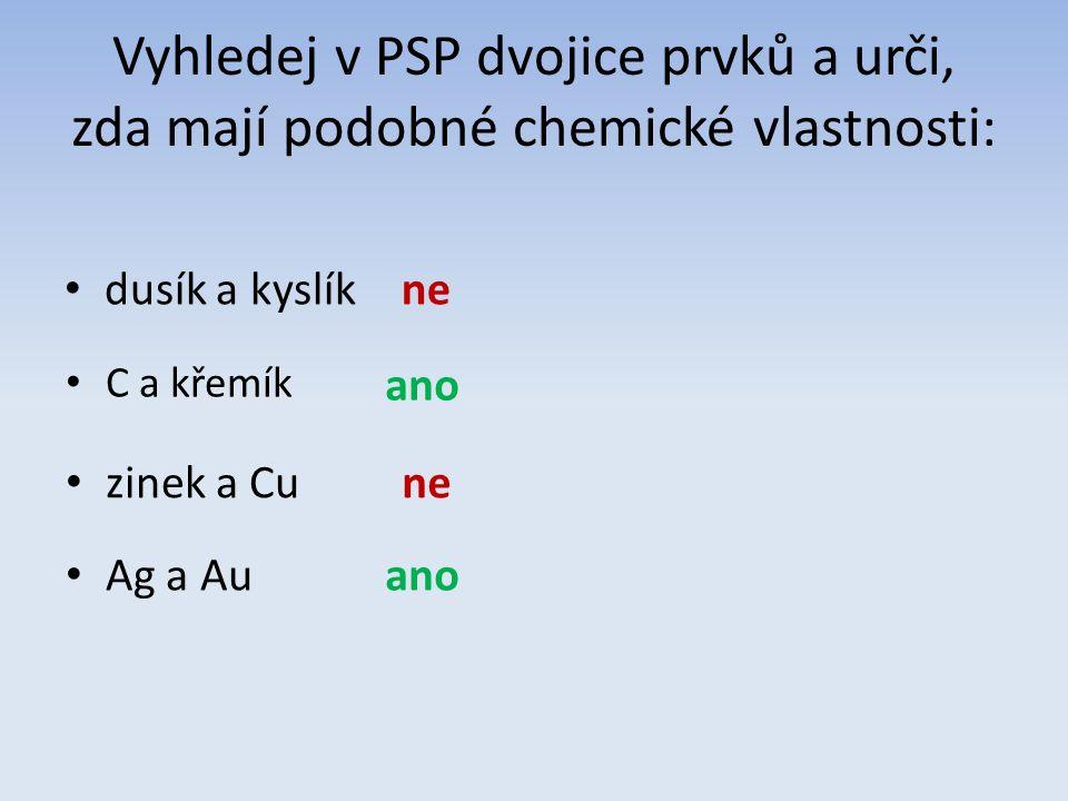 Vyhledej v PSP dvojice prvků a urči, zda mají podobné chemické vlastnosti: dusík a kyslíkne C a křemík ano zinek a Cune Ag a Auano