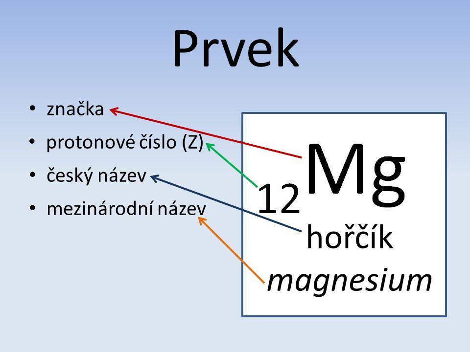 Prvek protonové číslo (Z) hořčík magnesium český název mezinárodní název značka