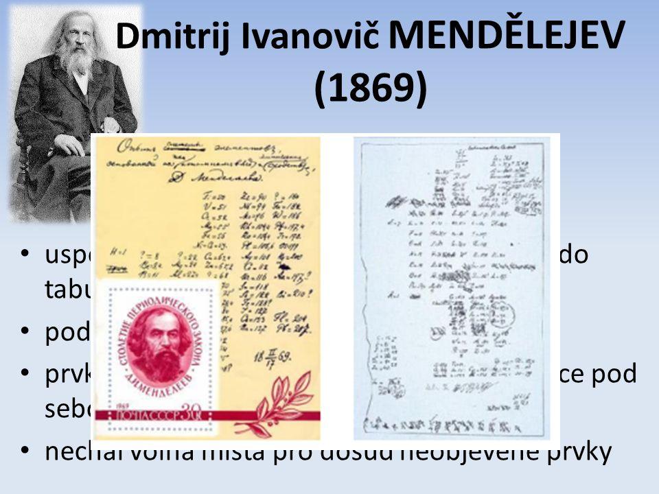 uspořádal všechny tehdy známé prvky (63) do tabulky podle vzrůstajících atomových hmotností prvky s podobnými vlastnostmi byly v tabulce pod sebou nechal volná místa pro dosud neobjevené prvky Dmitrij Ivanovič MENDĚLEJEV (1869)