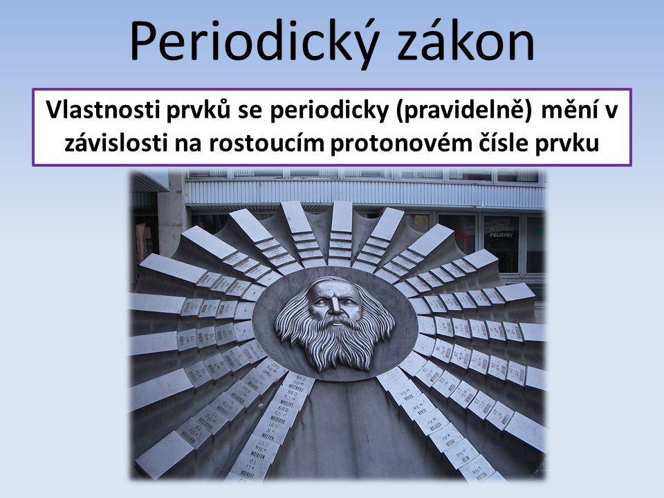 Periodický zákon Vlastnosti prvků se periodicky (pravidelně) mění v závislosti na rostoucím protonovém čísle prvku