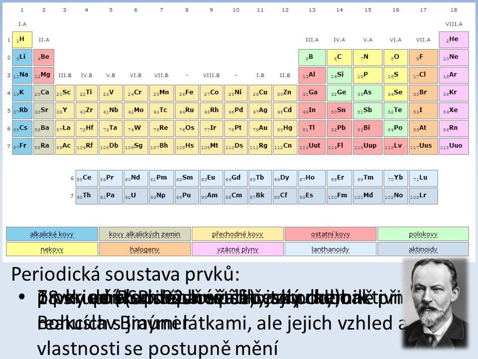 Periodická soustava prvků: 7 period (vodorovné řádky tabulky) 18 skupin (svislé sloupce) prvky ve skupinách se chovají podobně při reakcích s jinými l