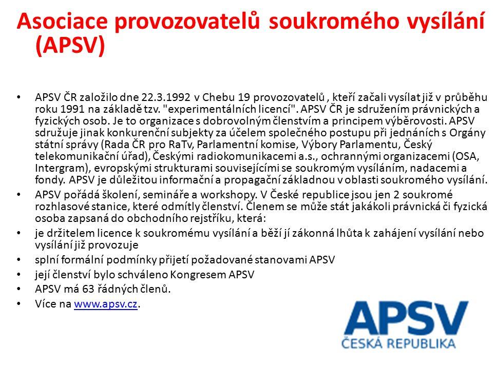Asociace provozovatelů soukromého vysílání (APSV) APSV ČR založilo dne 22.3.1992 v Chebu 19 provozovatelů, kteří začali vysílat již v průběhu roku 1991 na základě tzv.