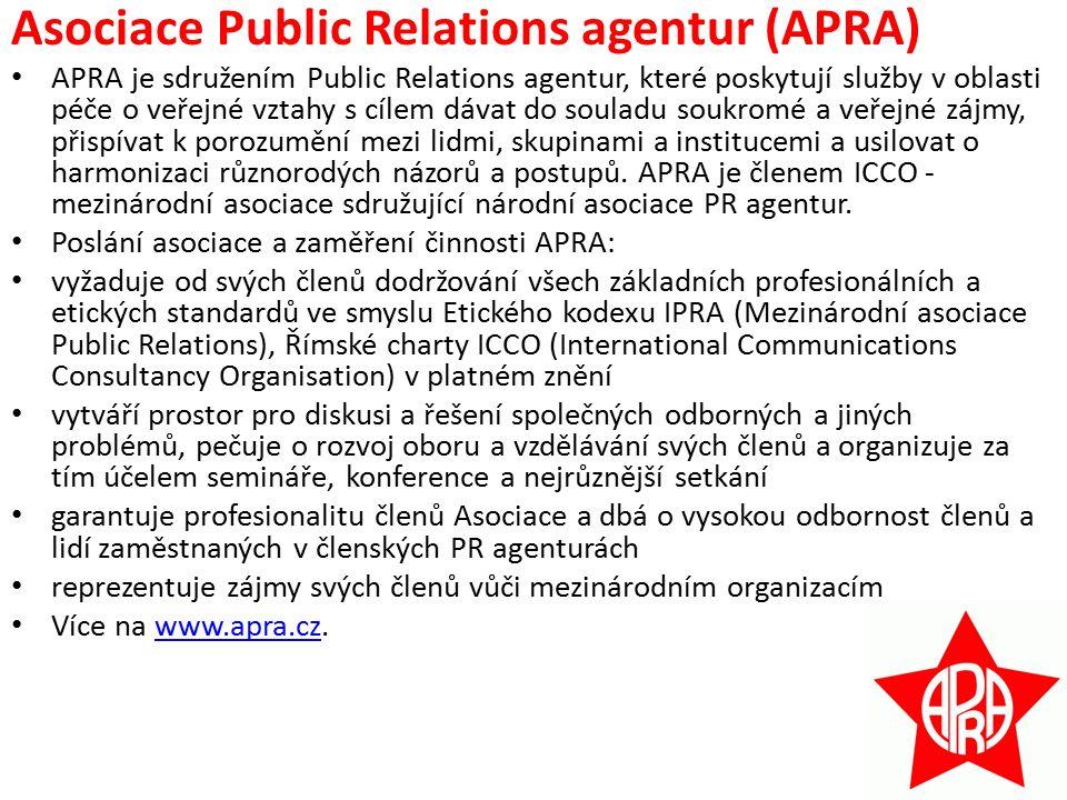 Asociace Public Relations agentur (APRA) APRA je sdružením Public Relations agentur, které poskytují služby v oblasti péče o veřejné vztahy s cílem dávat do souladu soukromé a veřejné zájmy, přispívat k porozumění mezi lidmi, skupinami a institucemi a usilovat o harmonizaci různorodých názorů a postupů.