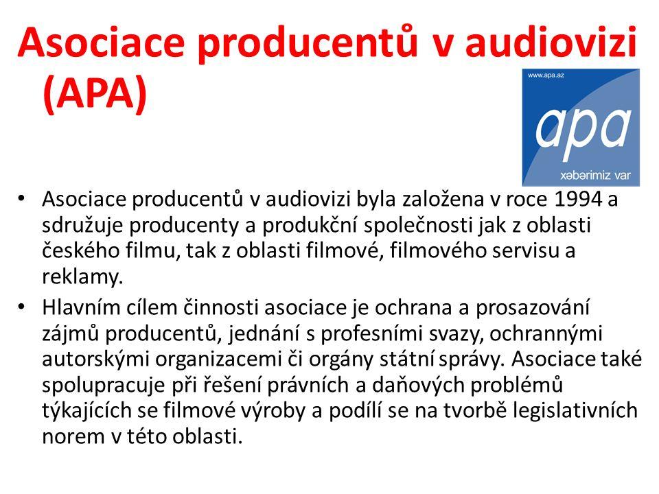 Asociace producentů v audiovizi (APA) Asociace producentů v audiovizi byla založena v roce 1994 a sdružuje producenty a produkční společnosti jak z oblasti českého filmu, tak z oblasti filmové, filmového servisu a reklamy.