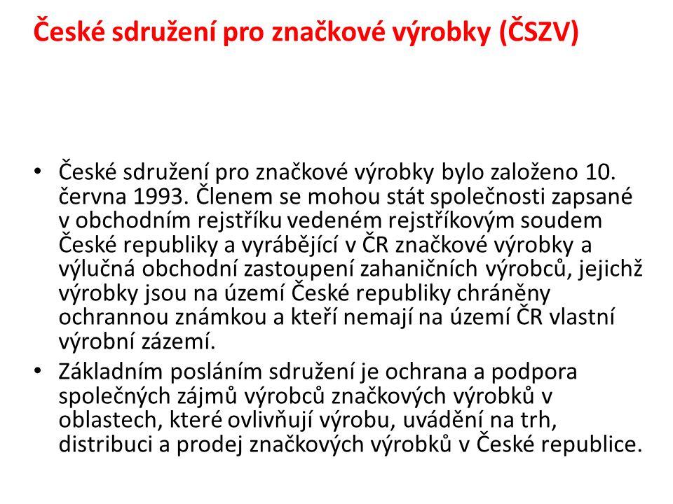 České sdružení pro značkové výrobky (ČSZV) České sdružení pro značkové výrobky bylo založeno 10.