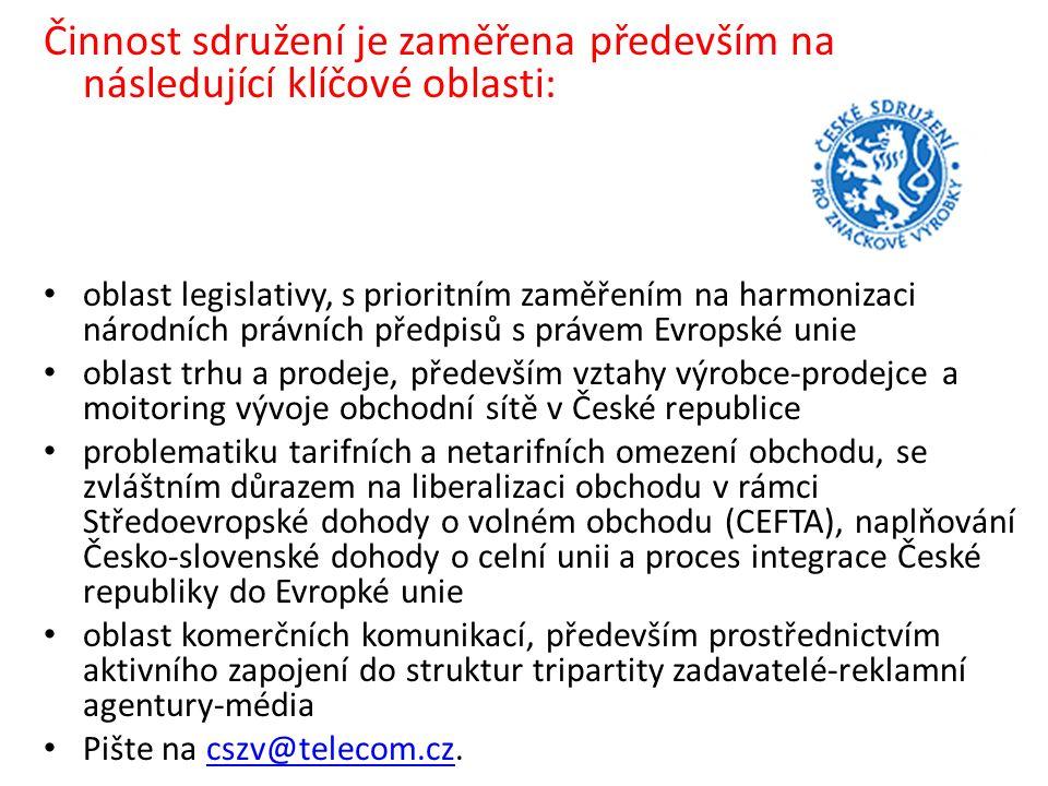 Činnost sdružení je zaměřena především na následující klíčové oblasti: oblast legislativy, s prioritním zaměřením na harmonizaci národních právních předpisů s právem Evropské unie oblast trhu a prodeje, především vztahy výrobce-prodejce a moitoring vývoje obchodní sítě v České republice problematiku tarifních a netarifních omezení obchodu, se zvláštním důrazem na liberalizaci obchodu v rámci Středoevropské dohody o volném obchodu (CEFTA), naplňování Česko-slovenské dohody o celní unii a proces integrace České republiky do Evropké unie oblast komerčních komunikací, především prostřednictvím aktivního zapojení do struktur tripartity zadavatelé-reklamní agentury-média Pište na cszv@telecom.cz.cszv@telecom.cz