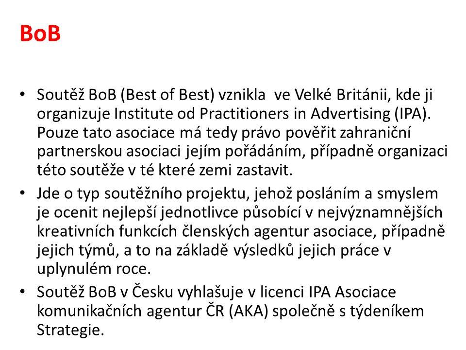 BoB Soutěž BoB (Best of Best) vznikla ve Velké Británii, kde ji organizuje Institute od Practitioners in Advertising (IPA).