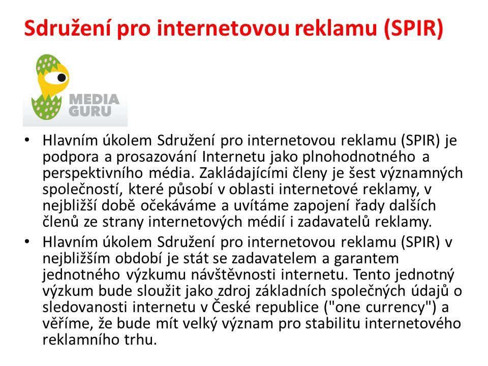 Sdružení pro internetovou reklamu (SPIR) Hlavním úkolem Sdružení pro internetovou reklamu (SPIR) je podpora a prosazování Internetu jako plnohodnotného a perspektivního média.