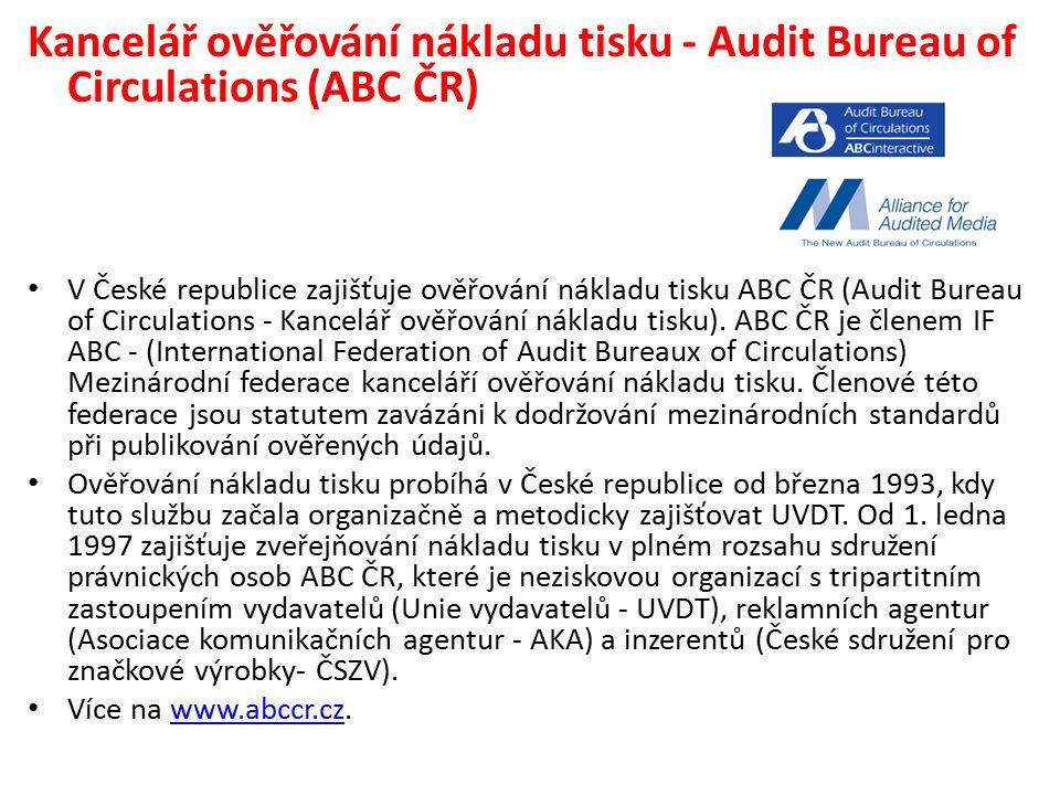 Kancelář ověřování nákladu tisku - Audit Bureau of Circulations (ABC ČR) V České republice zajišťuje ověřování nákladu tisku ABC ČR (Audit Bureau of Circulations - Kancelář ověřování nákladu tisku).
