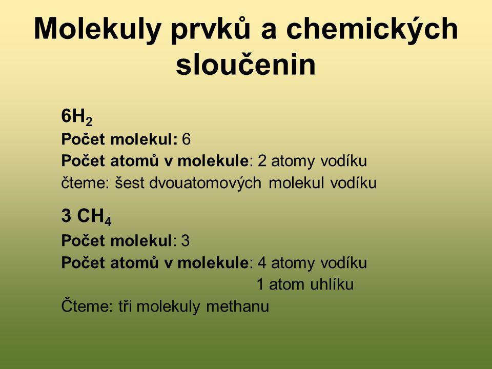 Molekuly prvků a chemických sloučenin 6H 2 Počet molekul: 6 Počet atomů v molekule: 2 atomy vodíku čteme: šest dvouatomových molekul vodíku 3 CH 4 Počet molekul: 3 Počet atomů v molekule: 4 atomy vodíku 1 atom uhlíku Čteme: tři molekuly methanu