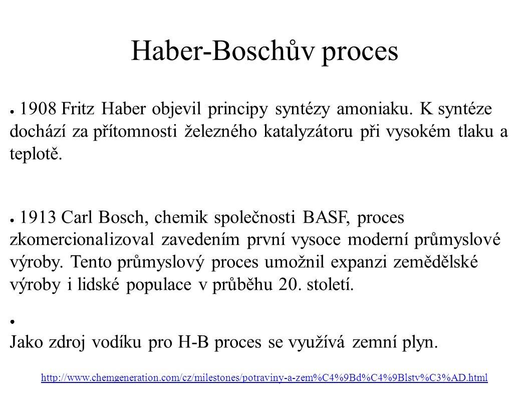 Haber-Boschův proces ● 1908 Fritz Haber objevil principy syntézy amoniaku.