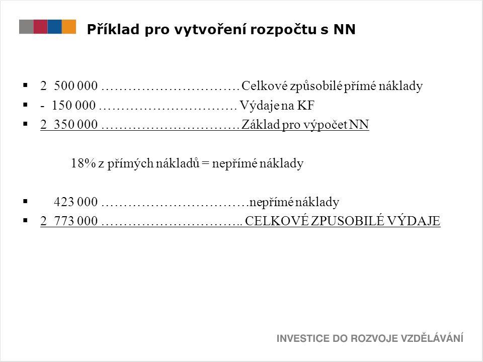 Příklad pro vytvoření rozpočtu s NN  2 500 000 ………………………….