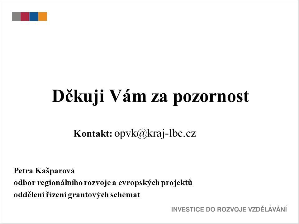 Děkuji Vám za pozornost Kontakt: opvk@kraj-lbc.cz Petra Kašparová odbor regionálního rozvoje a evropských projektů oddělení řízení grantových schémat