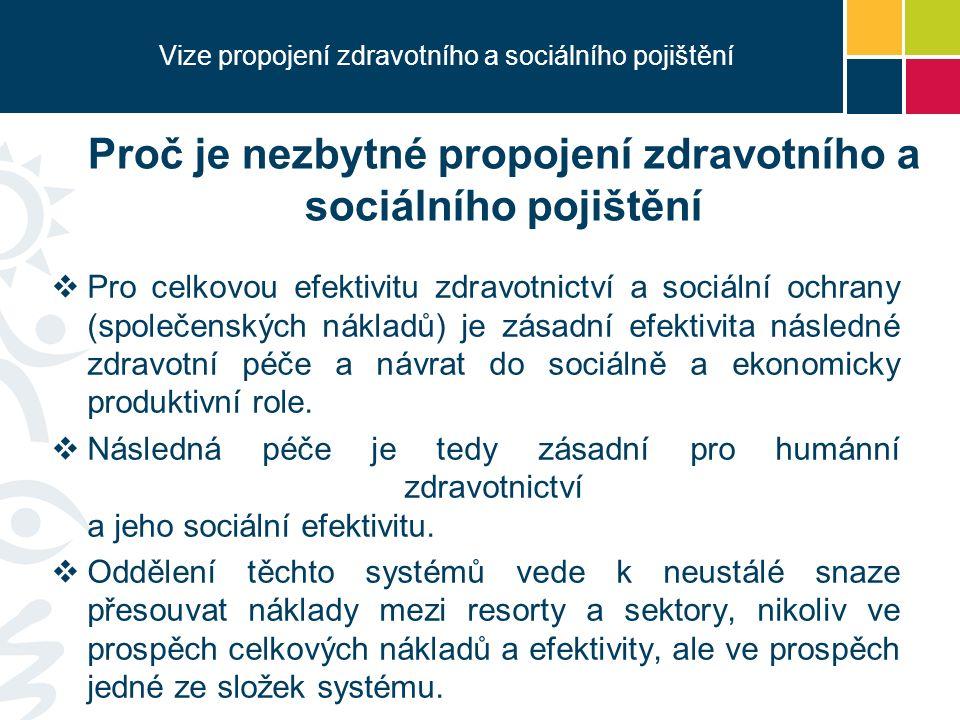 Vize propojení zdravotního a sociálního pojištění  Pro celkovou efektivitu zdravotnictví a sociální ochrany (společenských nákladů) je zásadní efektivita následné zdravotní péče a návrat do sociálně a ekonomicky produktivní role.