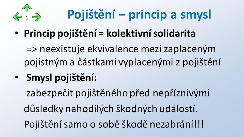 Princip pojištění = kolektivní solidarita => neexistuje ekvivalence mezi zaplaceným pojistným a částkami vyplacenými z pojištění Smysl pojištění: zabezpečit pojištěného před nepříznivými důsledky nahodilých škodných událostí.