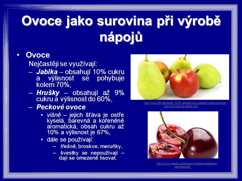 Ovoce jako surovina při výrobě nápojů Ovoce Nejčastěji se využívají: –Jablka – obsahují 10% cukru a výlisnost se pohybuje kolem 70%, –Hrušky – obsahuj