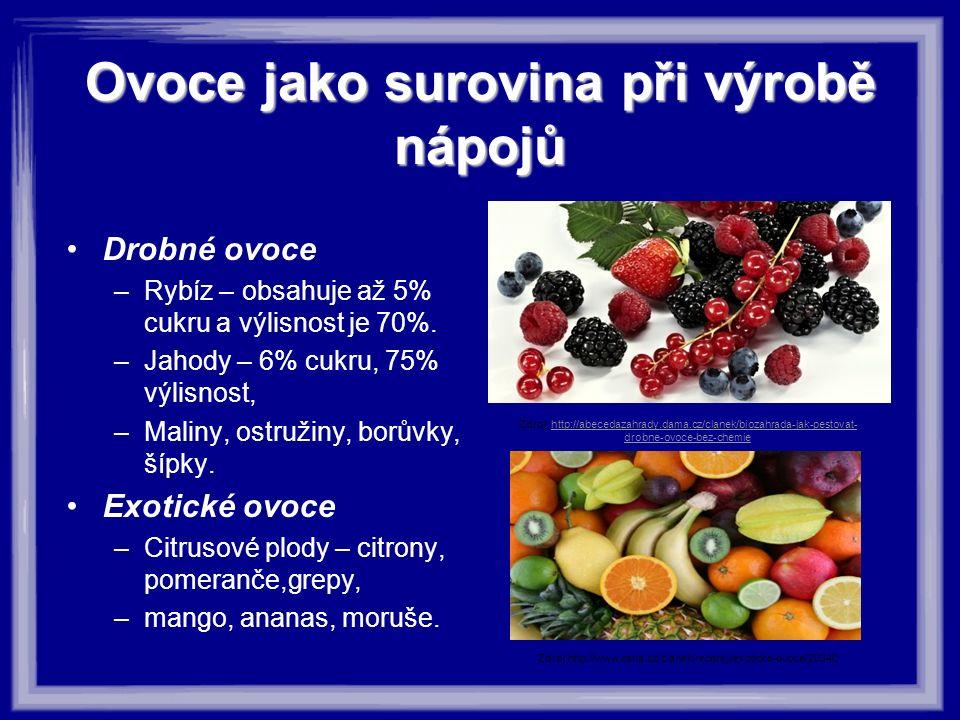 Ovoce jako surovina při výrobě nápojů Drobné ovoce –Rybíz – obsahuje až 5% cukru a výlisnost je 70%. –Jahody – 6% cukru, 75% výlisnost, –Maliny, ostru