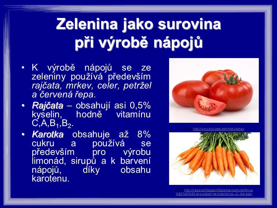 Zeleninajako surovina při výrobě nápojů Zelenina jako surovina při výrobě nápojů K výrobě nápojů se ze zeleniny používá především rajčata, mrkev, celer, petržel a červená řepa.