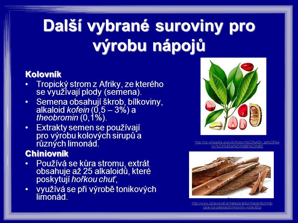Další vybrané suroviny pro výrobu nápojů Kolovník Tropický strom z Afriky, ze kterého se využívají plody (semena). Semena obsahují škrob, bílkoviny, a