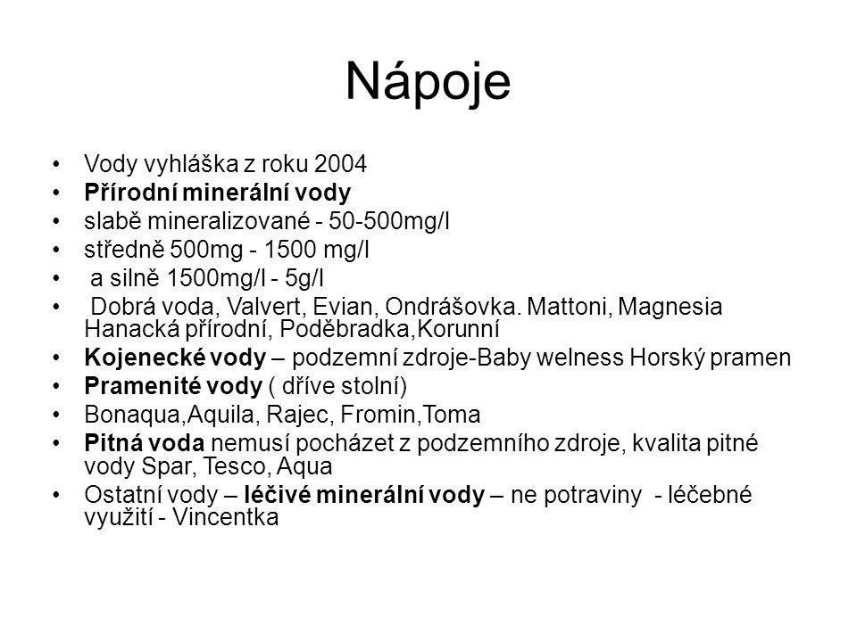 Nápoje Vody vyhláška z roku 2004 Přírodní minerální vody slabě mineralizované - 50-500mg/l středně 500mg - 1500 mg/l a silně 1500mg/l - 5g/l Dobrá voda, Valvert, Evian, Ondrášovka.