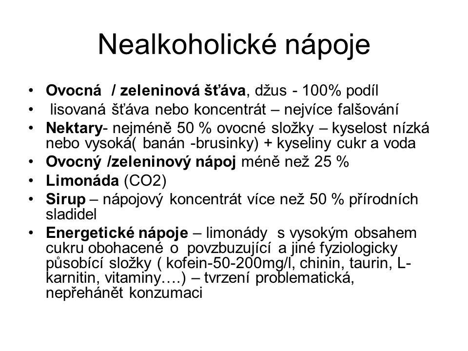 Nealkoholické nápoje Ovocná / zeleninová šťáva, džus - 100% podíl lisovaná šťáva nebo koncentrát – nejvíce falšování Nektary- nejméně 50 % ovocné slož