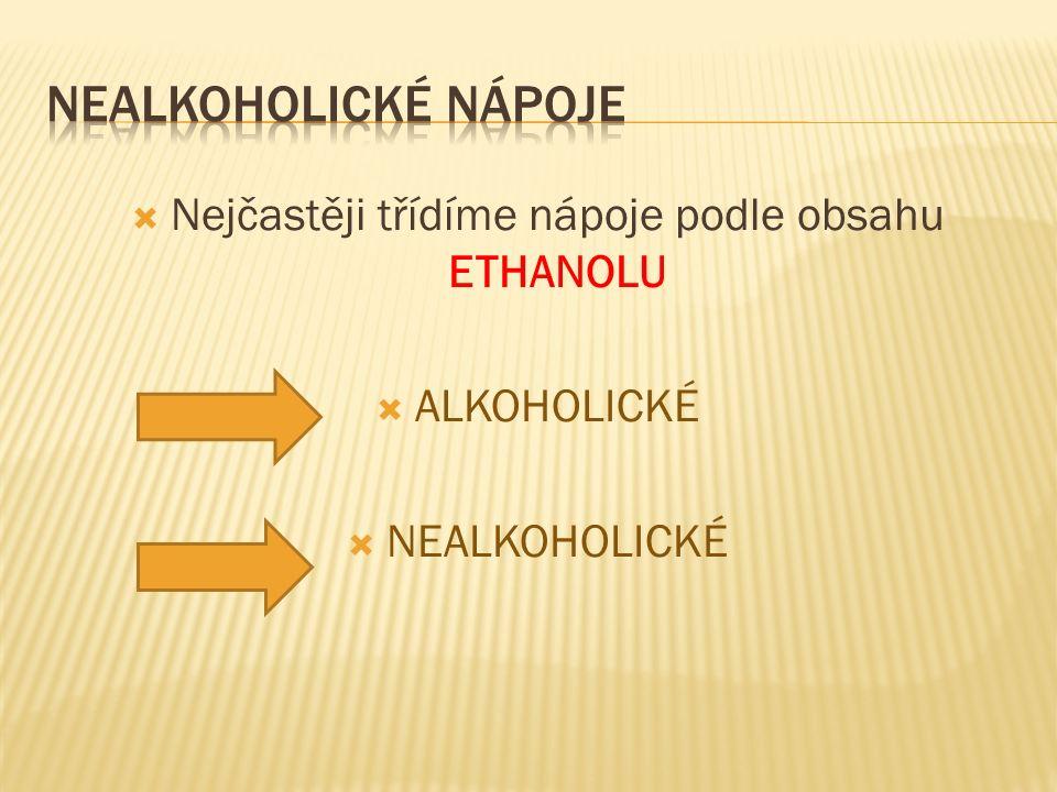  Nejčastěji třídíme nápoje podle obsahu ETHANOLU  ALKOHOLICKÉ  NEALKOHOLICKÉ