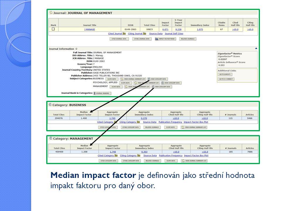 Median impact factor je definován jako střední hodnota impakt faktoru pro daný obor.