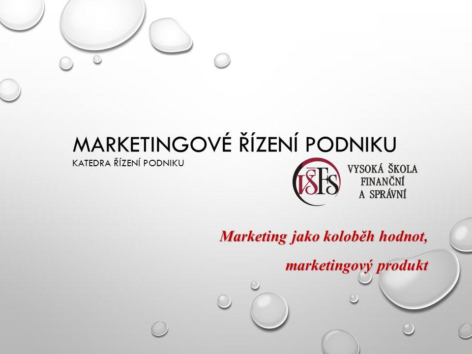 MARKETINGOVÉ ŘÍZENÍ PODNIKU KATEDRA ŘÍZENÍ PODNIKU Marketing jako koloběh hodnot, marketingový produkt