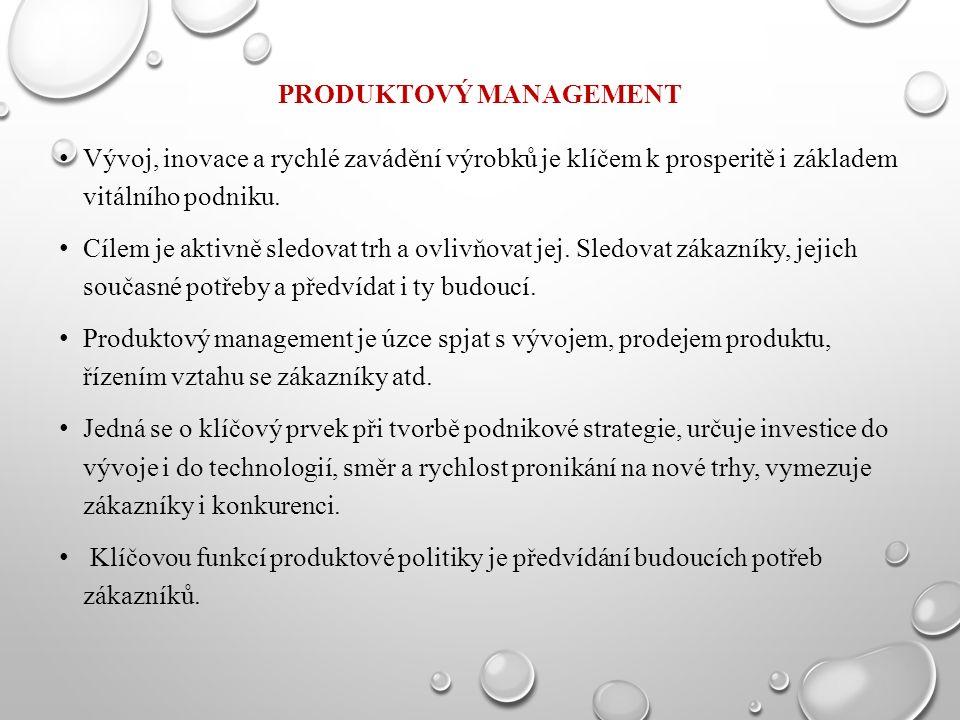 PRODUKTOVÝ MANAGEMENT Vývoj, inovace a rychlé zavádění výrobků je klíčem k prosperitě i základem vitálního podniku.