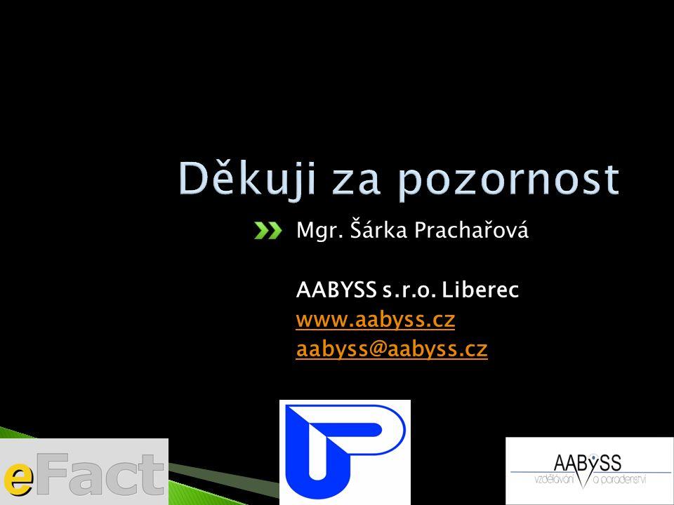 Mgr. Šárka Prachařová AABYSS s.r.o. Liberec www.aabyss.cz aabyss@aabyss.cz