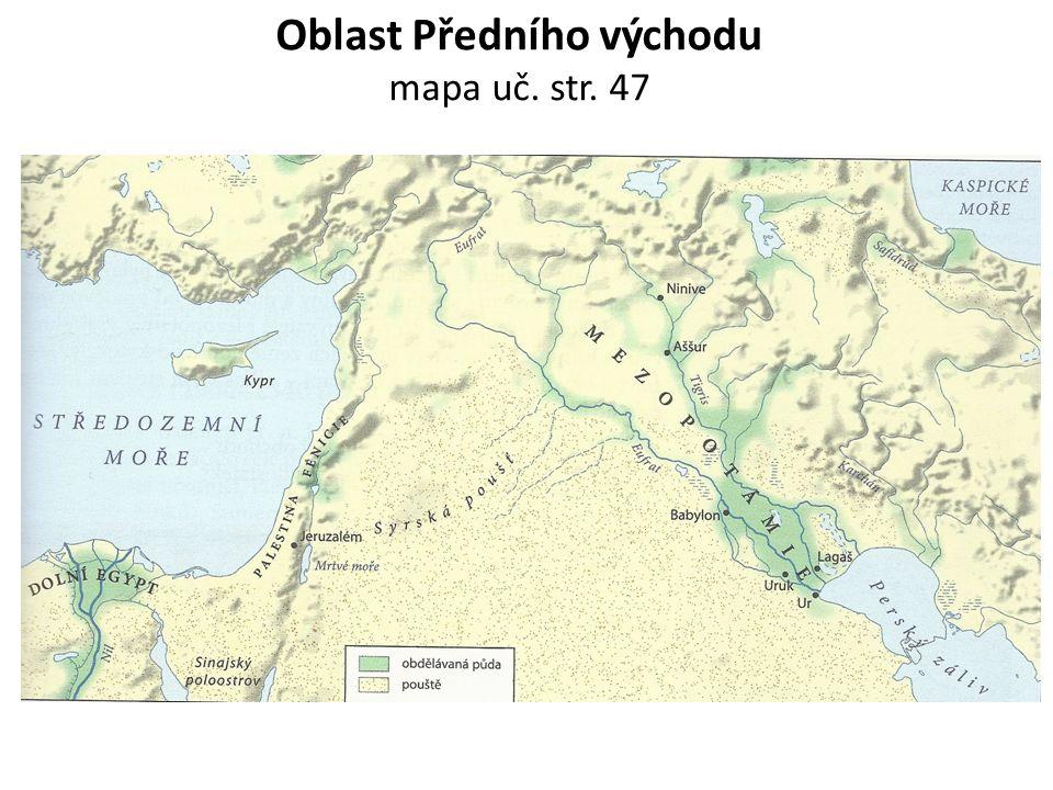 Přírodní podmínky, zemědělství, obchod Meziříčí (řecky) = oblast mezi řekami Eufrat a Tygrid sever – náhorní plošina, dostatek srážek jih – záplavy z řek budování sítí kanálů, nádrží, odvodňovacích zařízení obilí, sezam, vinná réva ovce, kozy, prasata, mezci, osli, 2.