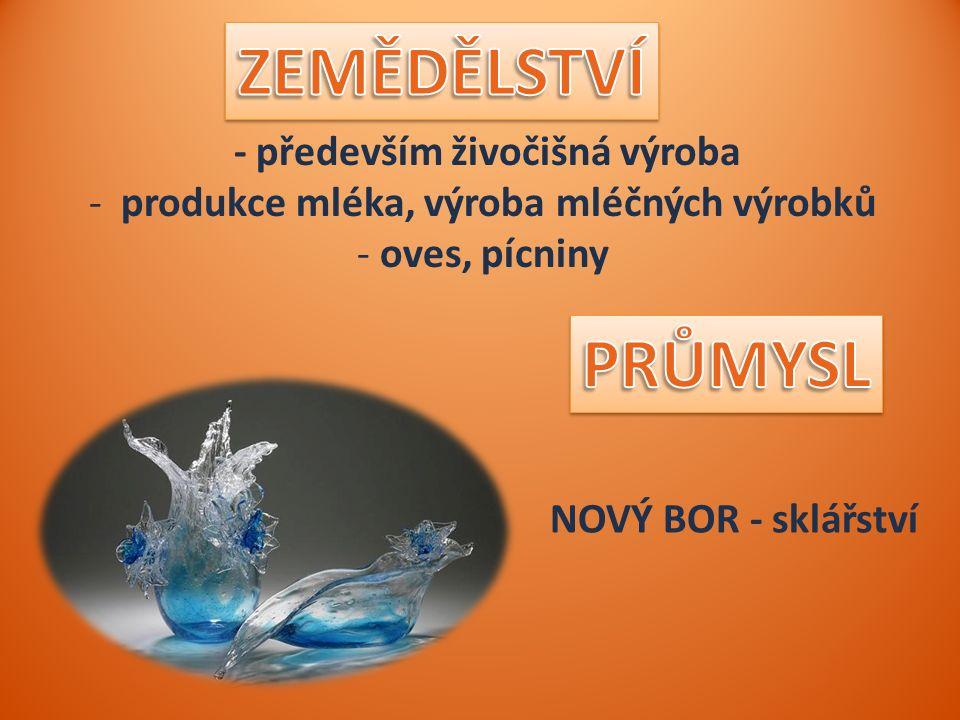 - především živočišná výroba - produkce mléka, výroba mléčných výrobků - oves, pícniny NOVÝ BOR - sklářství