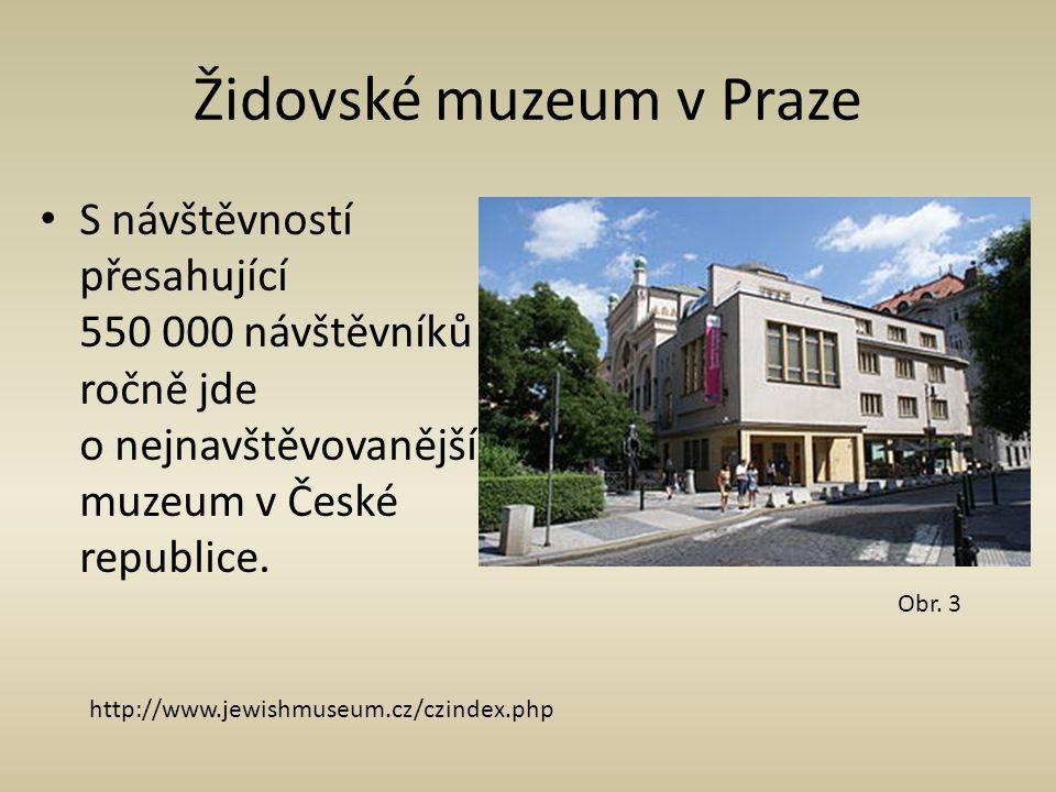 Židovské muzeum v Praze S návštěvností přesahující 550 000 návštěvníků ročně jde o nejnavštěvovanější muzeum v České republice. Obr. 3 http://www.jewi