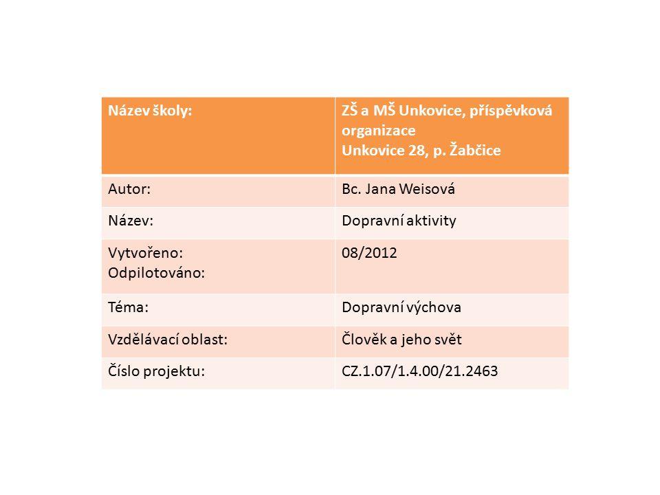 Název školy:ZŠ a MŠ Unkovice, příspěvková organizace Unkovice 28, p. Žabčice Autor:Bc. Jana Weisová Název:Dopravní aktivity Vytvořeno: Odpilotováno: 0