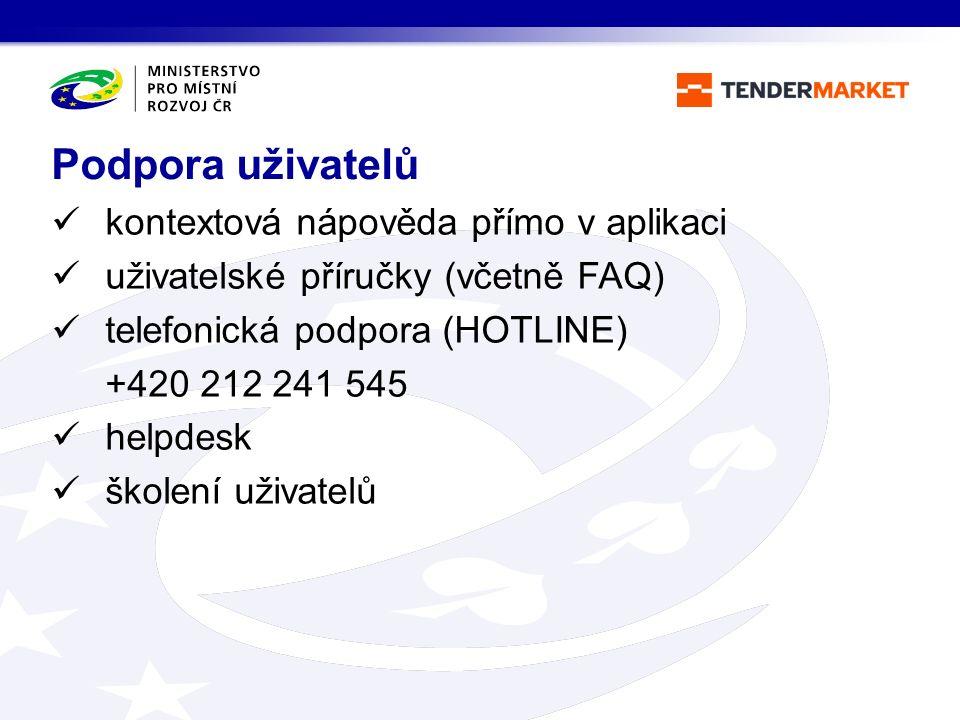 kontextová nápověda přímo v aplikaci uživatelské příručky (včetně FAQ) telefonická podpora (HOTLINE) +420 212 241 545 helpdesk školení uživatelů Podpo