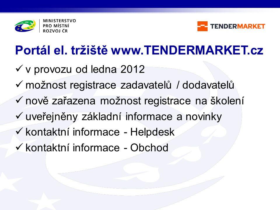 v provozu od ledna 2012 možnost registrace zadavatelů / dodavatelů nově zařazena možnost registrace na školení uveřejněny základní informace a novinky