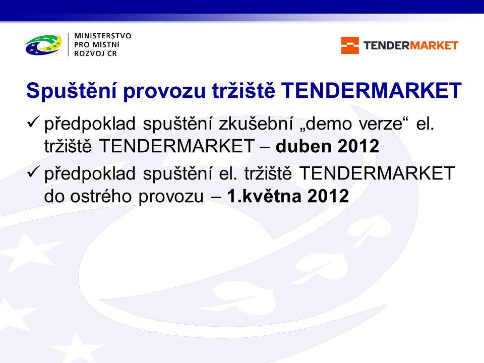 """předpoklad spuštění zkušební """"demo verze"""" el. tržiště TENDERMARKET – duben 2012 předpoklad spuštění el. tržiště TENDERMARKET do ostrého provozu – 1.kv"""