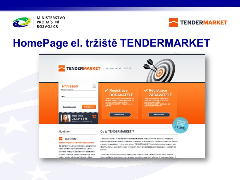HomePage el. tržiště TENDERMARKET