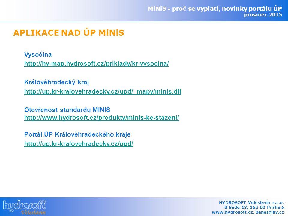 Vysočina http://hv-map.hydrosoft.cz/priklady/kr-vysocina/ Královéhradecký kraj http://up.kr-kralovehradecky.cz/upd/_mapy/minis.dll Otevřenost standardu MINIS http://www.hydrosoft.cz/produkty/minis-ke-stazeni/ Portál ÚP Královéhradeckého kraje http://up.kr-kralovehradecky.cz/upd/ MiNiS - proč se vyplatí, novinky portálu ÚP prosinec 2015 HYDROSOFT Veleslavín s.r.o.