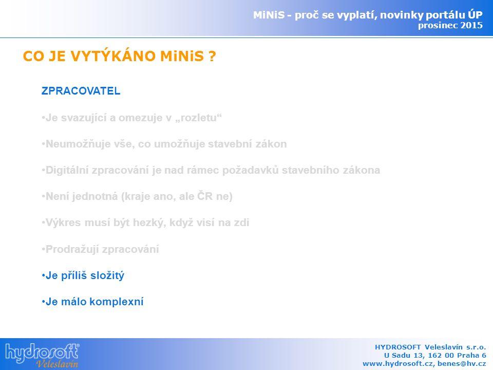 MiNiS - proč se vyplatí, novinky portálu ÚP prosinec 2015 HYDROSOFT Veleslavín s.r.o.