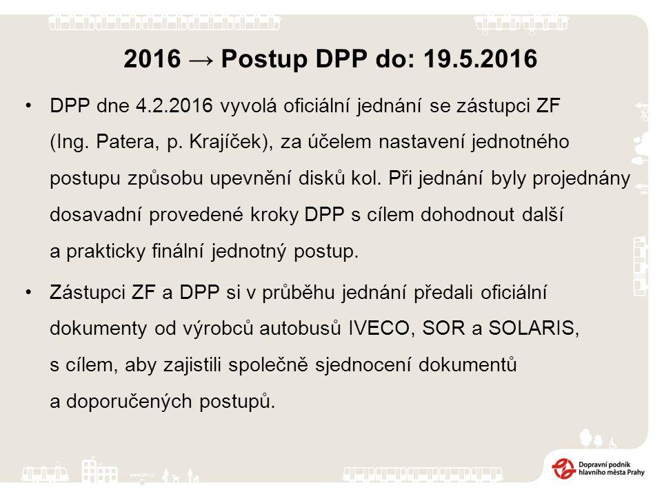 2016 → Postup DPP do: 19.5.2016 DPP obdržený materiál od ZF vyhodnocuje a následně probíhají další jednání a dotazy. Řeší se opět možnosti nadstandard